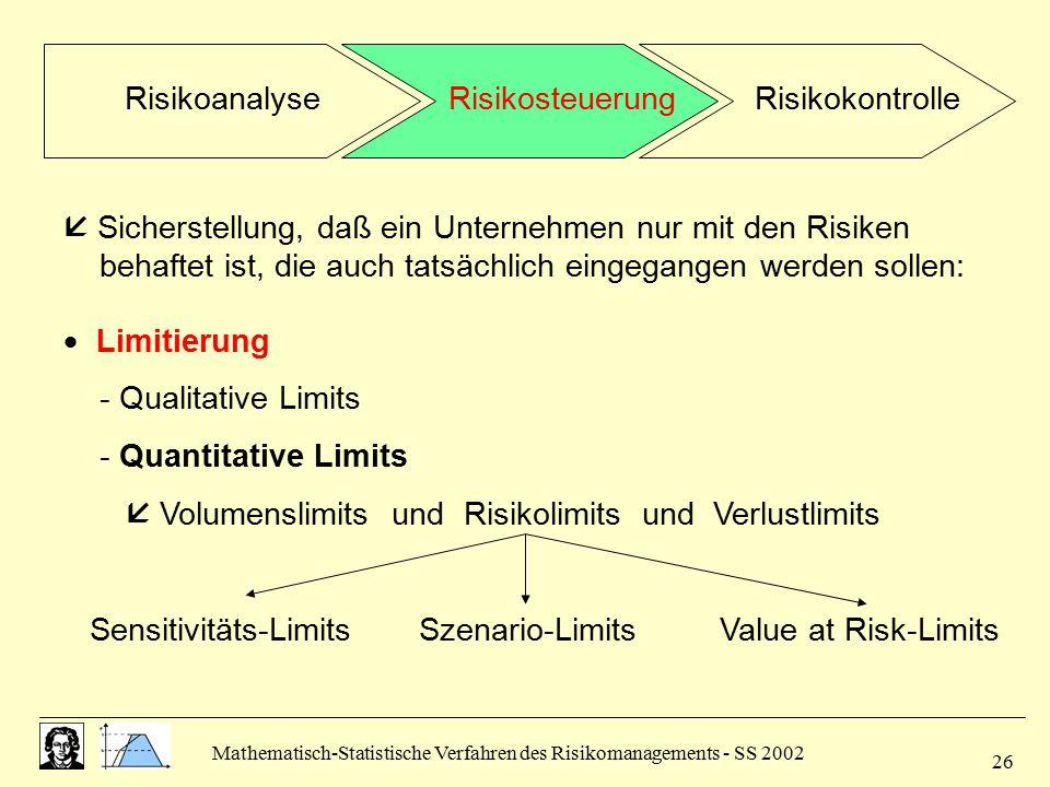  Sicherstellung, daß ein Unternehmen nur mit den Risiken