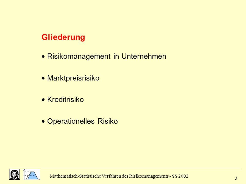 Gliederung  Risikomanagement in Unternehmen  Marktpreisrisiko