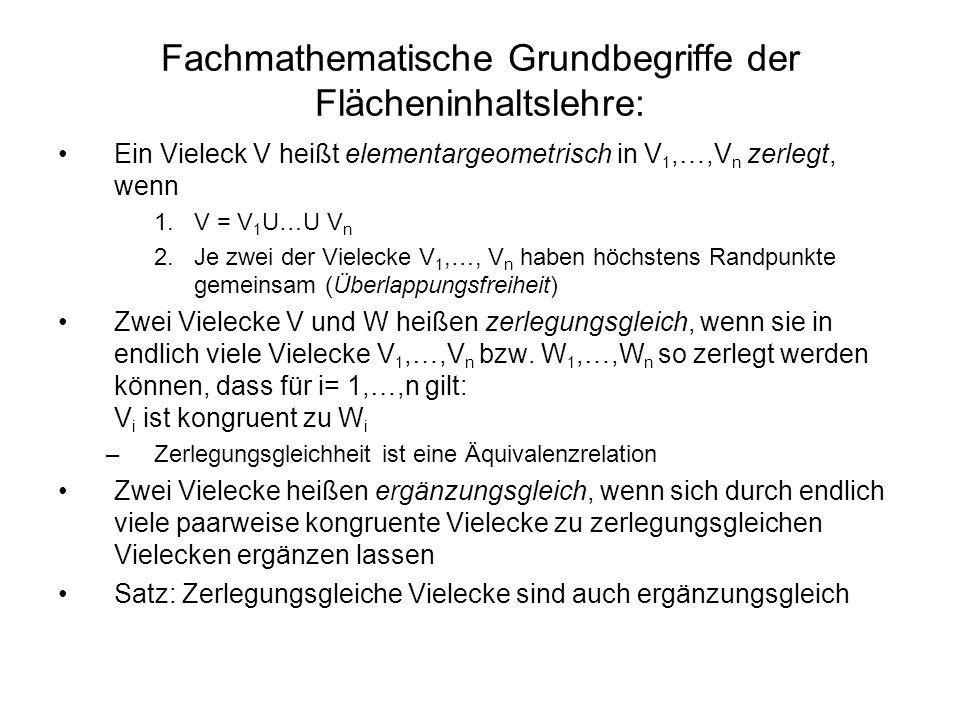 Fachmathematische Grundbegriffe der Flächeninhaltslehre: