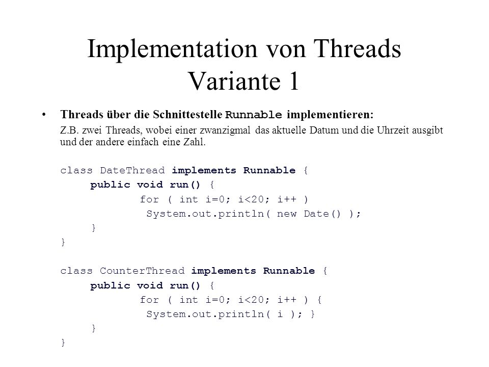 Implementation von Threads Variante 1