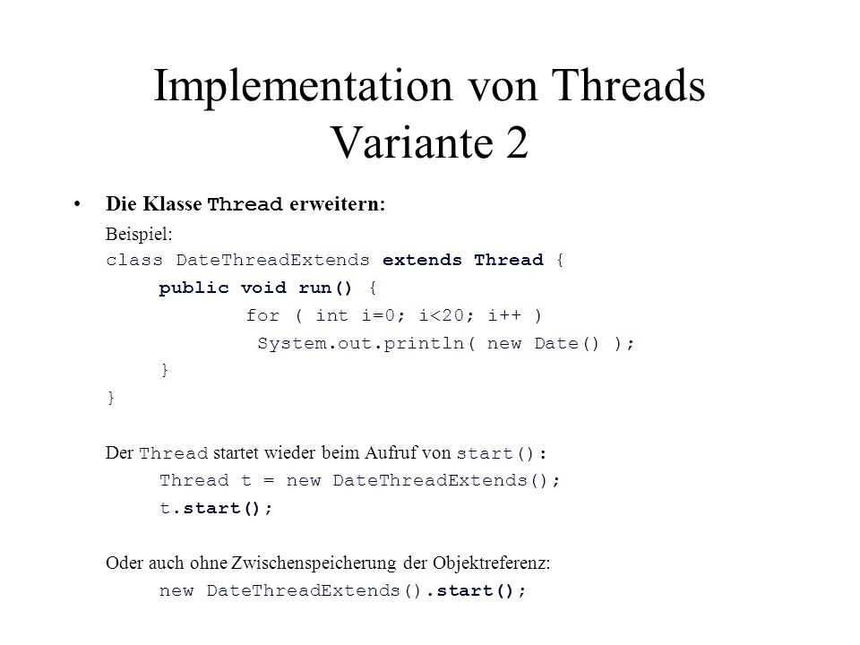 Implementation von Threads Variante 2