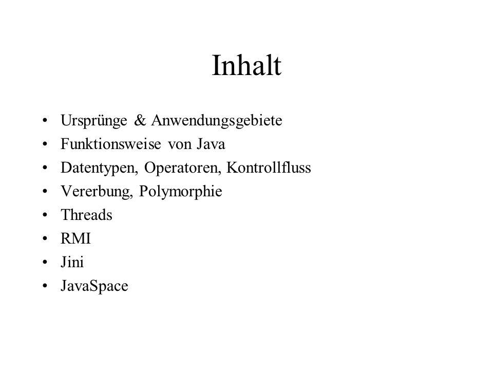 Inhalt Ursprünge & Anwendungsgebiete Funktionsweise von Java
