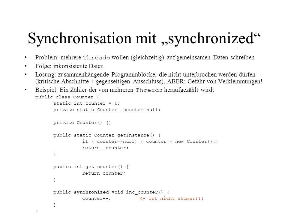 """Synchronisation mit """"synchronized"""