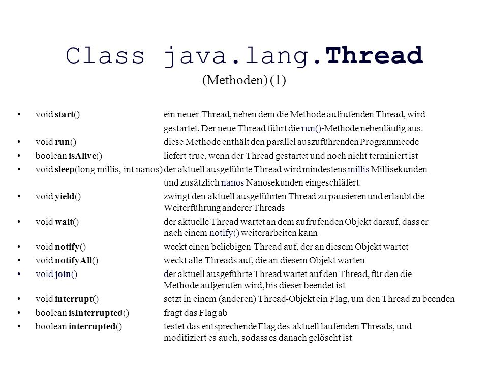 Class java.lang.Thread (Methoden) (1)