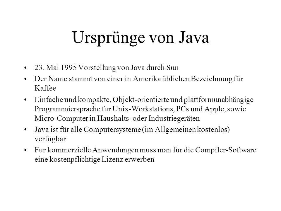 Ursprünge von Java 23. Mai 1995 Vorstellung von Java durch Sun
