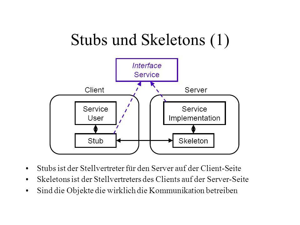 Stubs und Skeletons (1) Stubs ist der Stellvertreter für den Server auf der Client-Seite.