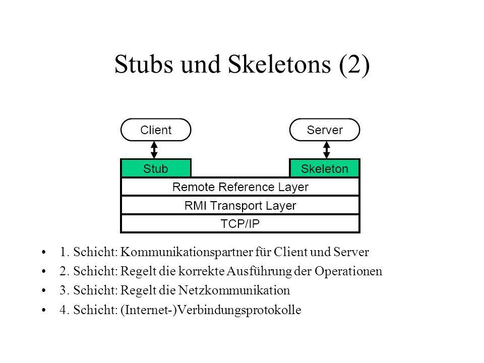 Stubs und Skeletons (2) 1. Schicht: Kommunikationspartner für Client und Server. 2. Schicht: Regelt die korrekte Ausführung der Operationen.