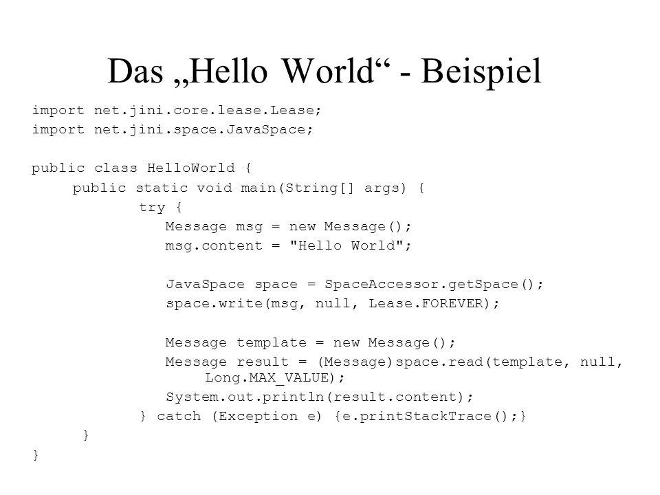 """Das """"Hello World - Beispiel"""