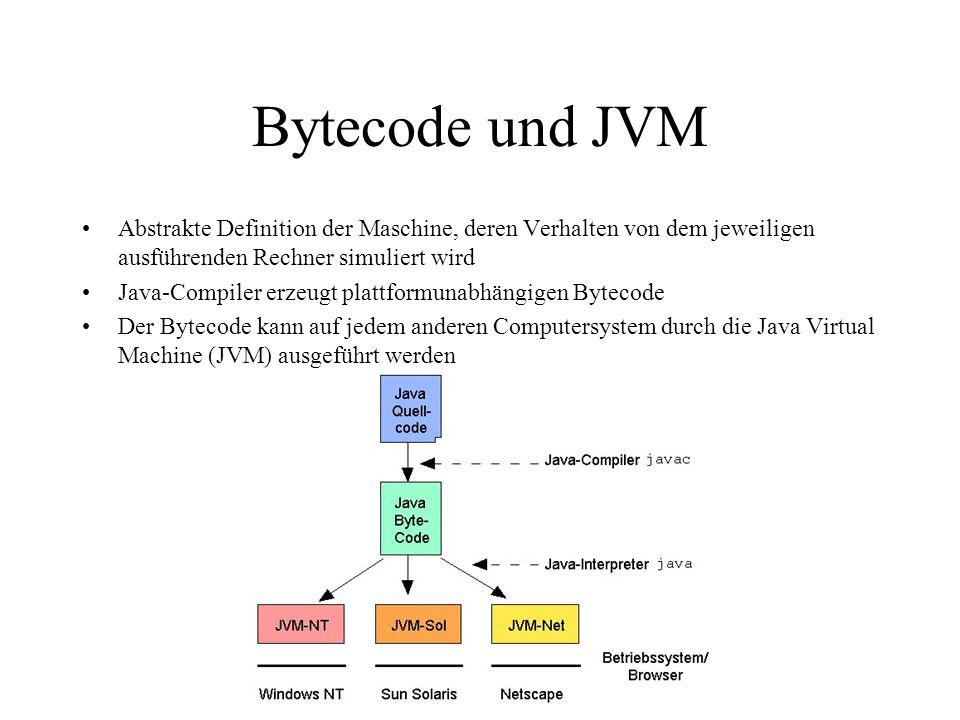 Bytecode und JVM Abstrakte Definition der Maschine, deren Verhalten von dem jeweiligen ausführenden Rechner simuliert wird.