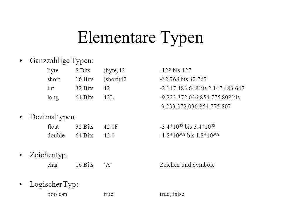Elementare Typen Ganzzahlige Typen: Dezimaltypen: Zeichentyp:
