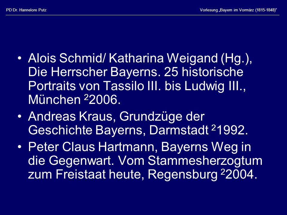 Andreas Kraus, Grundzüge der Geschichte Bayerns, Darmstadt 21992.