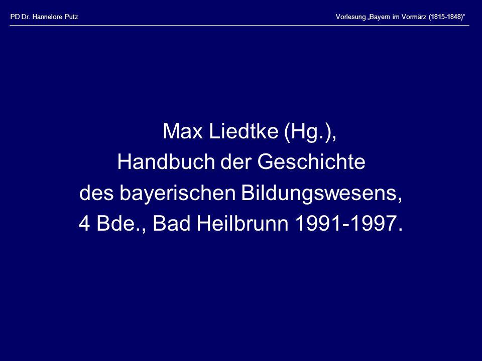 Handbuch der Geschichte des bayerischen Bildungswesens,