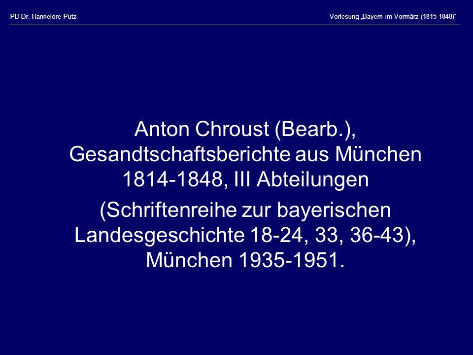 """PD Dr. Hannelore Putz Vorlesung """"Bayern im Vormärz (1815-1848)"""
