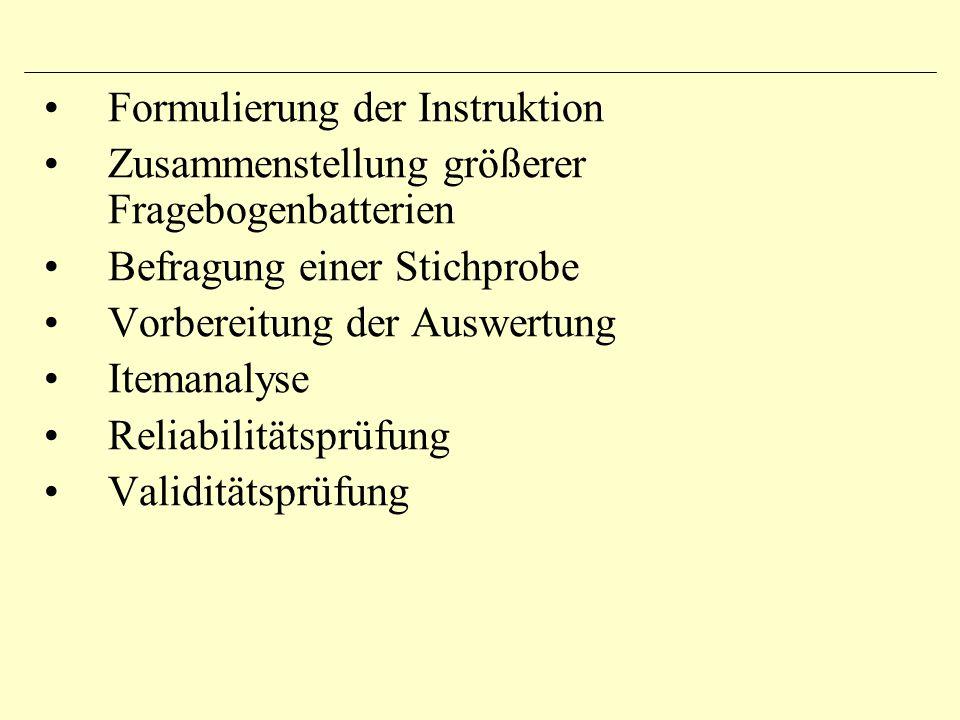 Formulierung der Instruktion