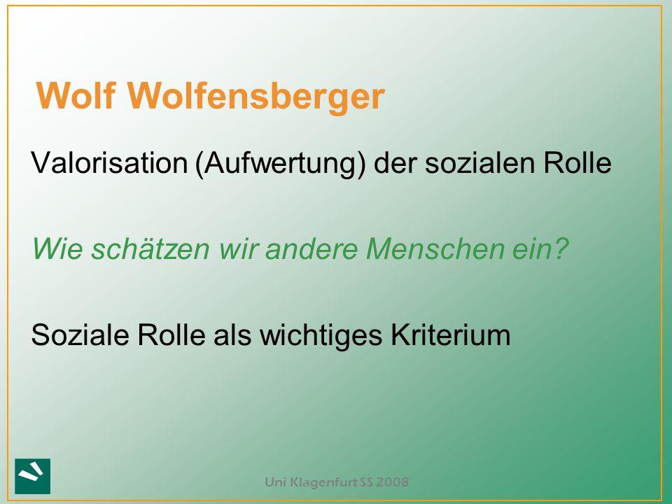 Wolf Wolfensberger Valorisation (Aufwertung) der sozialen Rolle