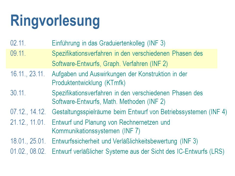Ringvorlesung 02.11. Einführung in das Graduiertenkolleg (INF 3)