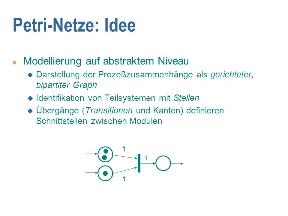 Petri-Netze: Idee Modellierung auf abstraktem Niveau