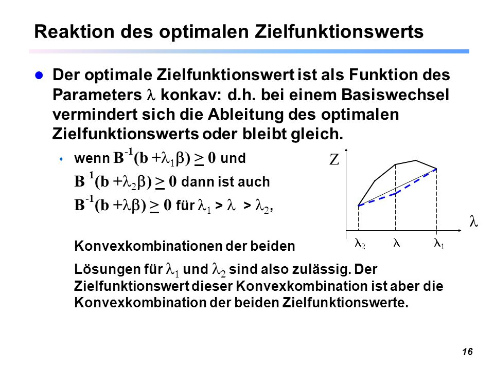 Reaktion des optimalen Zielfunktionswerts