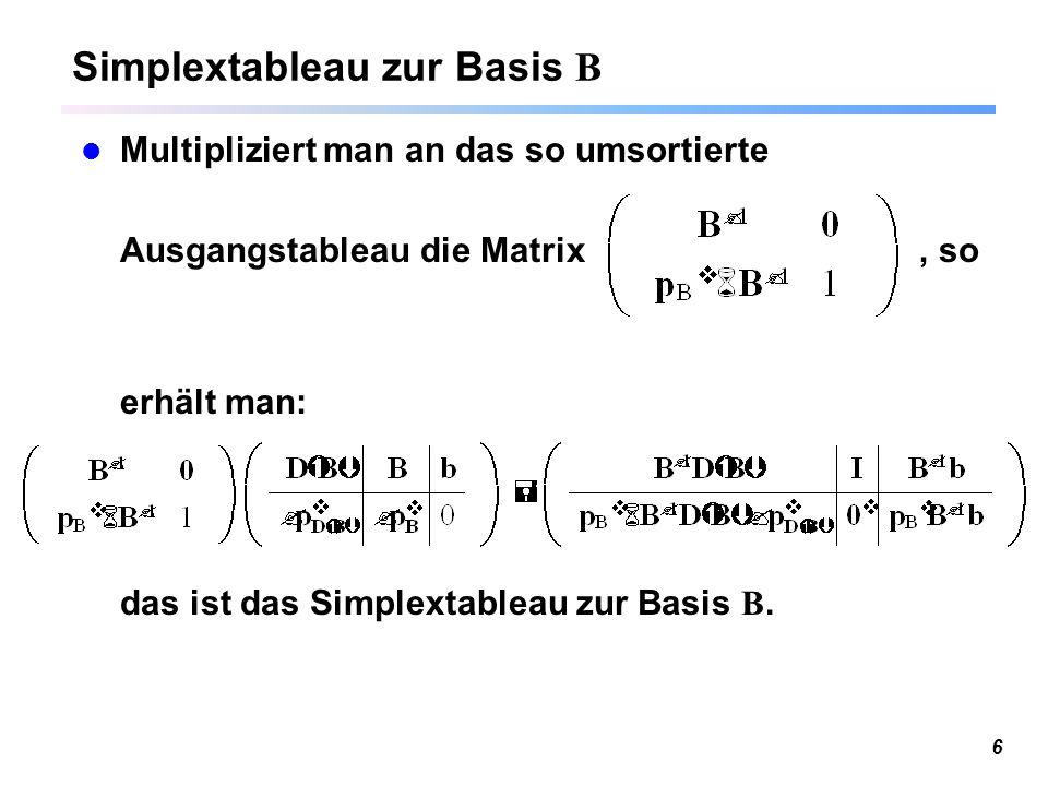 Simplextableau zur Basis B