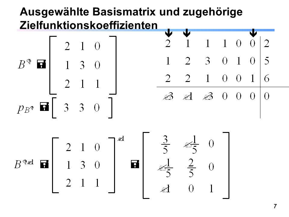 Ausgewählte Basismatrix und zugehörige Zielfunktionskoeffizienten