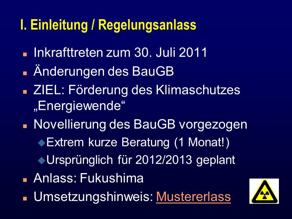 I. Einleitung / Regelungsanlass