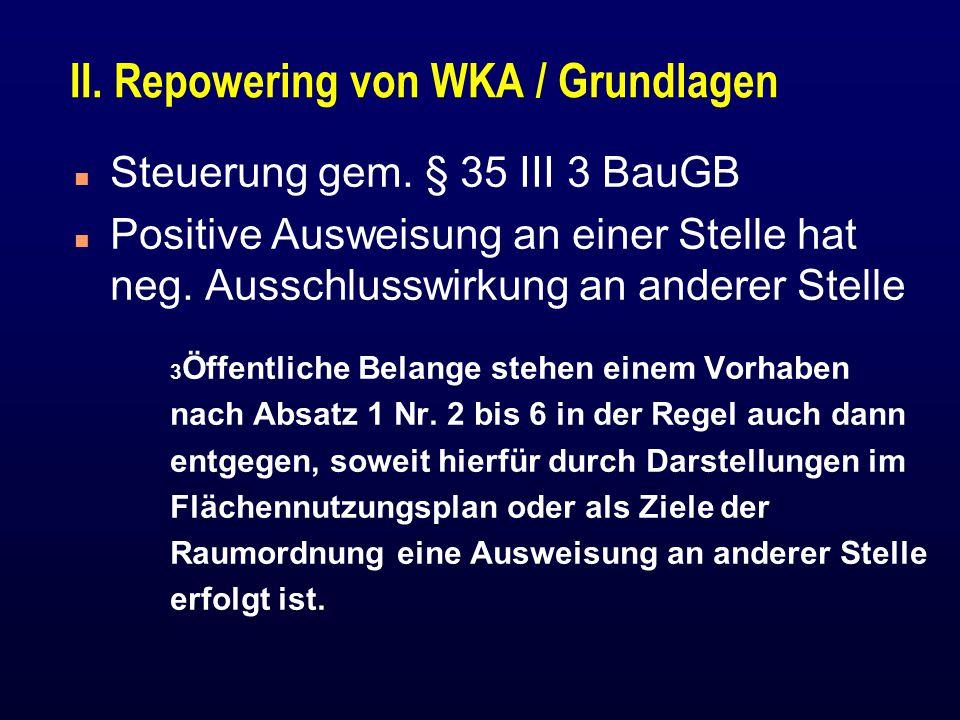 II. Repowering von WKA / Grundlagen