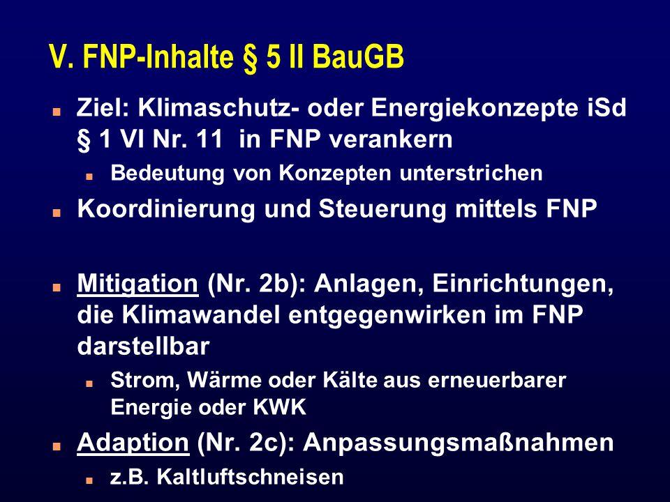 V. FNP-Inhalte § 5 II BauGB