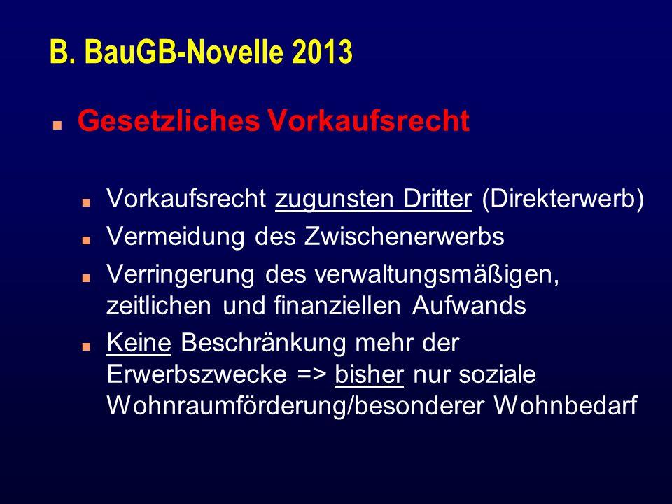 B. BauGB-Novelle 2013 Gesetzliches Vorkaufsrecht