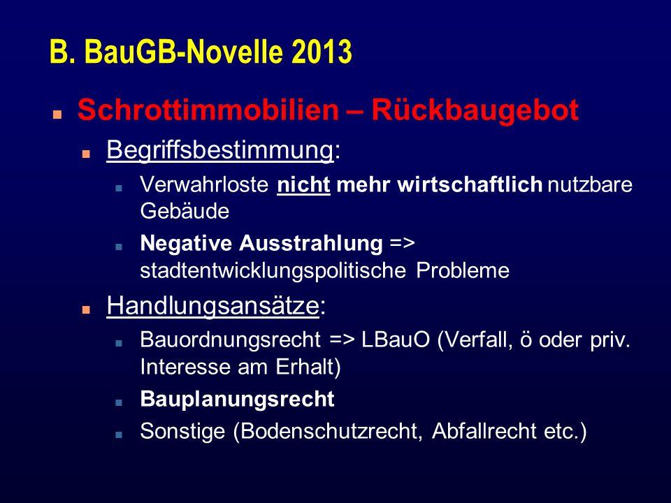 B. BauGB-Novelle 2013 Schrottimmobilien – Rückbaugebot