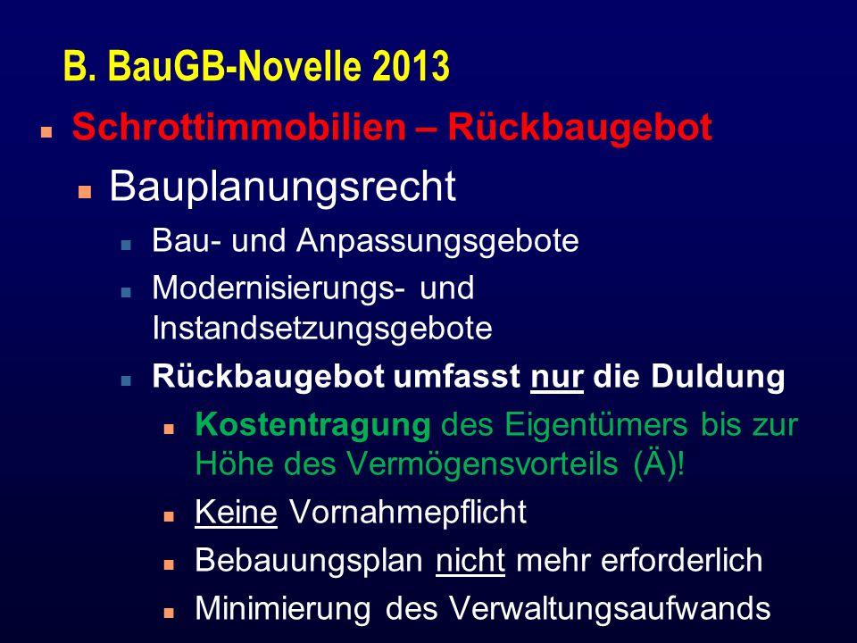 B. BauGB-Novelle 2013 Bauplanungsrecht