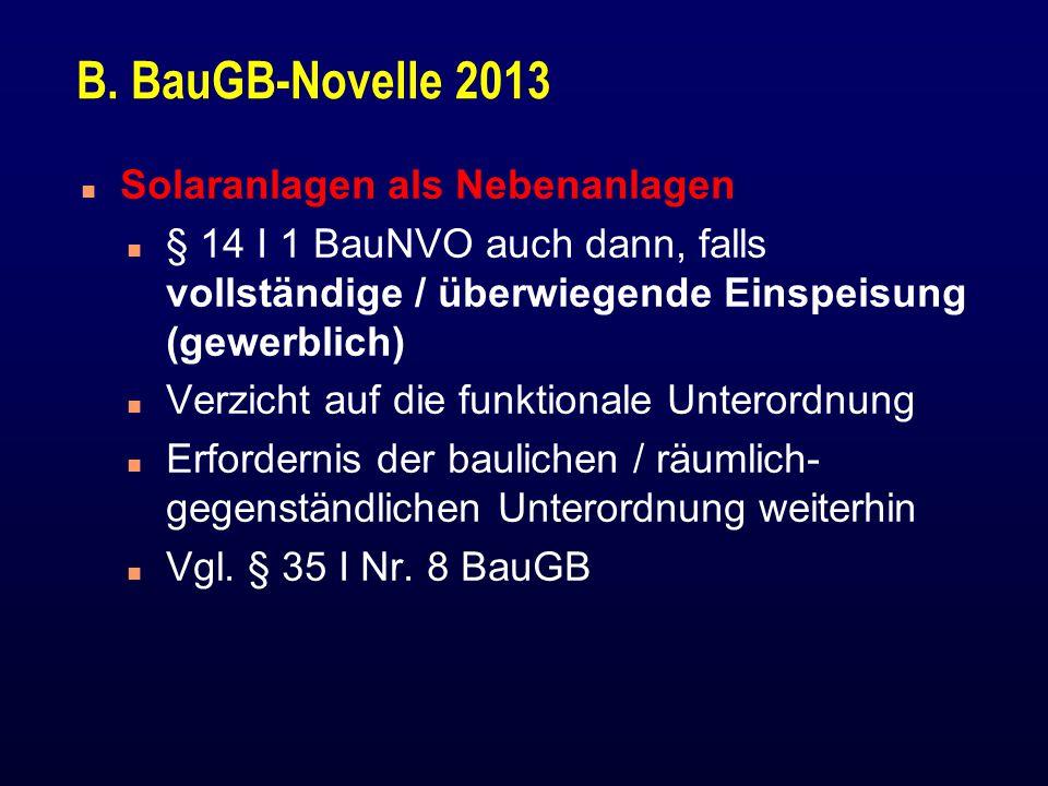 B. BauGB-Novelle 2013 Solaranlagen als Nebenanlagen
