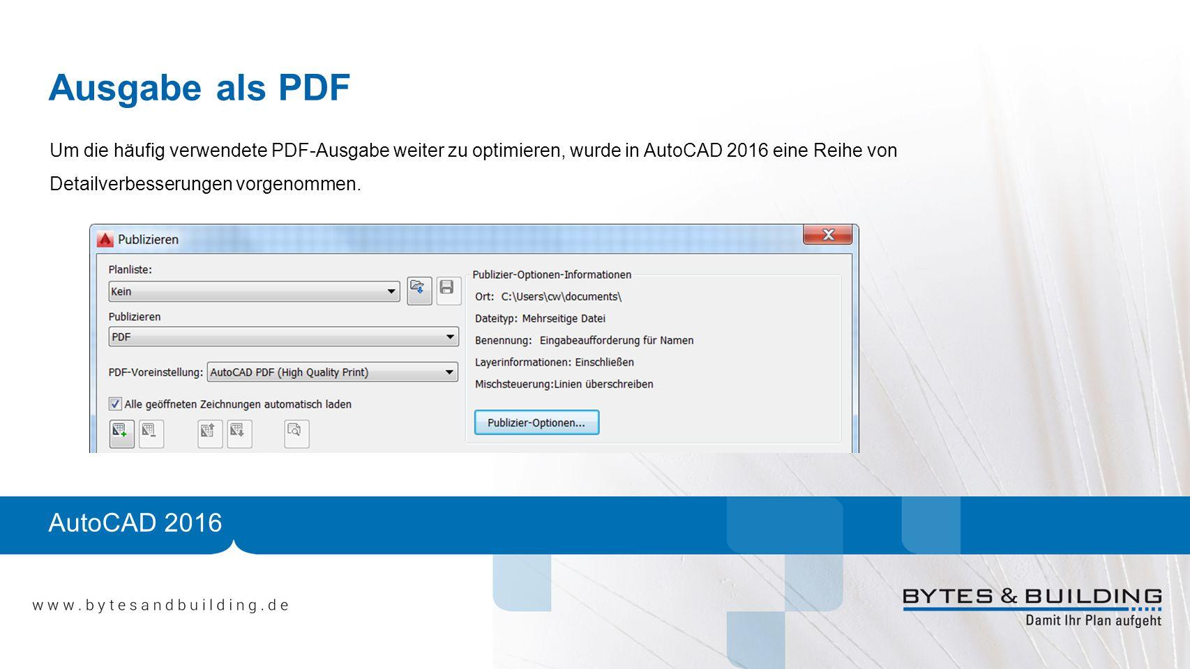 Ausgabe als PDF AutoCAD 2016