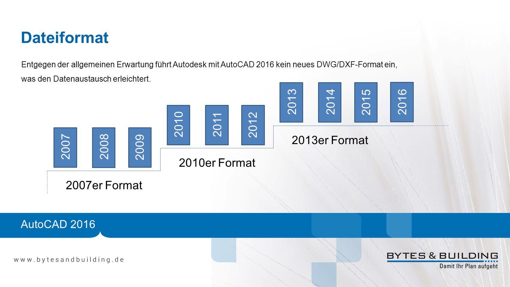 Dateiformat Entgegen der allgemeinen Erwartung führt Autodesk mit AutoCAD 2016 kein neues DWG/DXF-Format ein, was den Datenaustausch erleichtert.