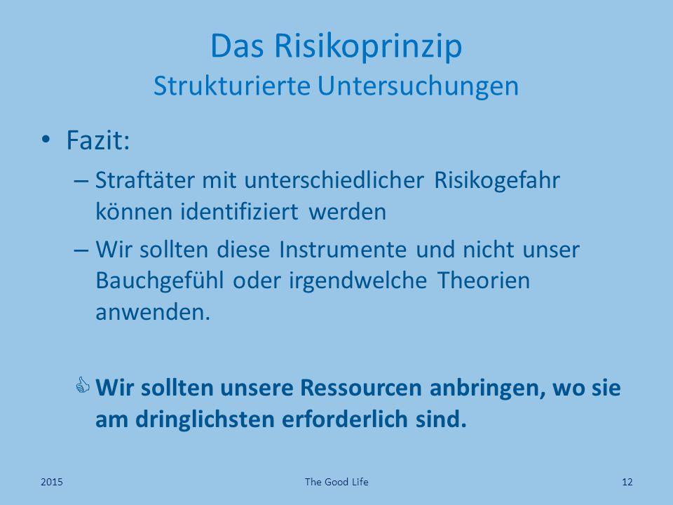 Das Risikoprinzip Strukturierte Untersuchungen