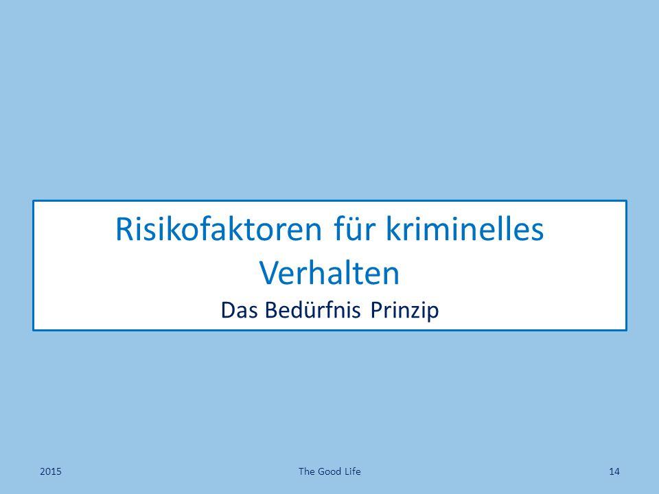 Risikofaktoren für kriminelles Verhalten Das Bedürfnis Prinzip