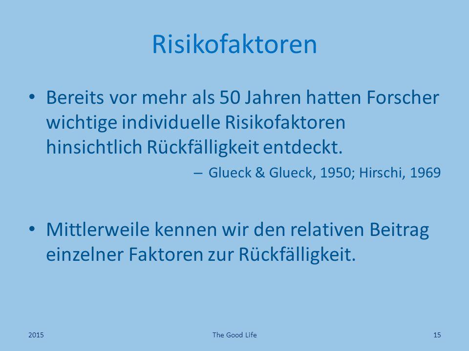 Risikofaktoren Bereits vor mehr als 50 Jahren hatten Forscher wichtige individuelle Risikofaktoren hinsichtlich Rückfälligkeit entdeckt.