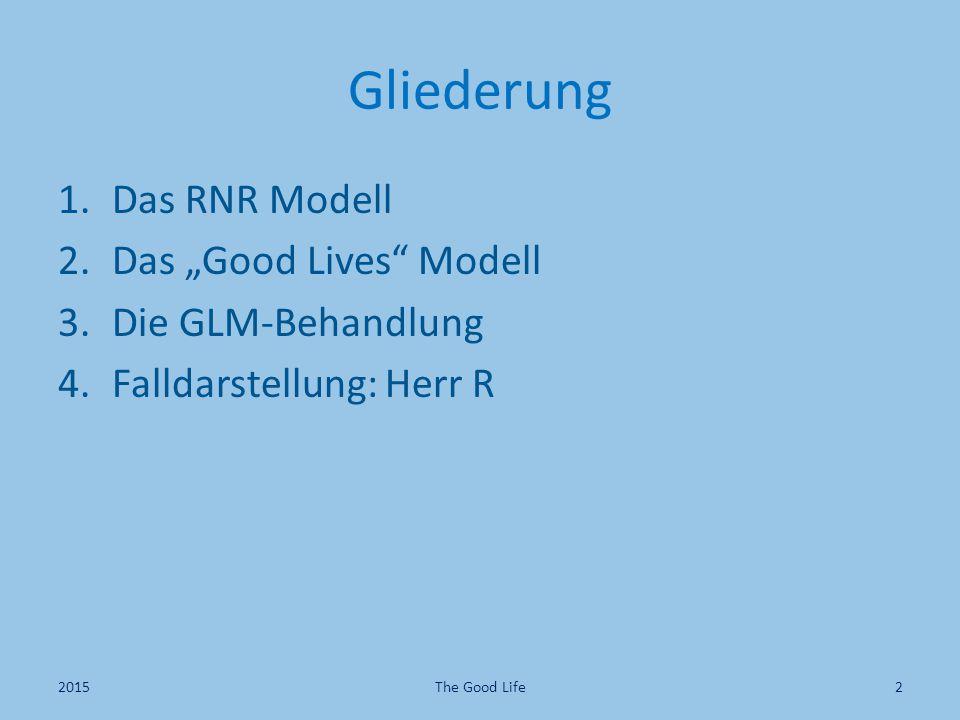 """Gliederung Das RNR Modell Das """"Good Lives Modell Die GLM-Behandlung"""