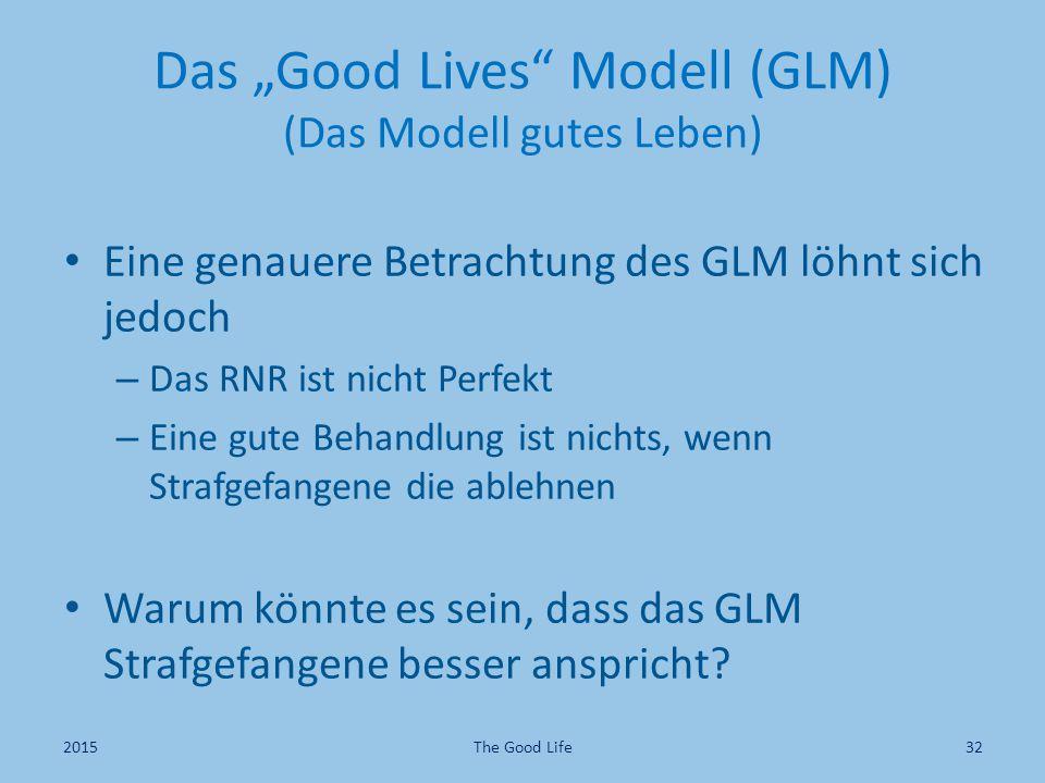 "Das ""Good Lives Modell (GLM) (Das Modell gutes Leben)"