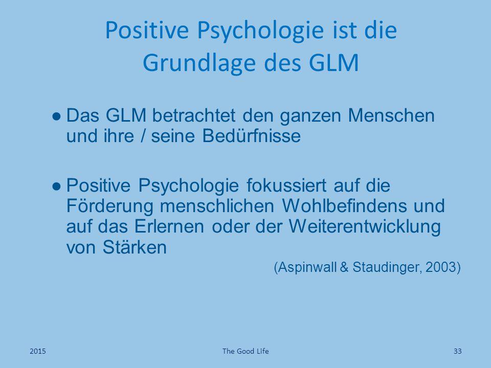 Positive Psychologie ist die Grundlage des GLM