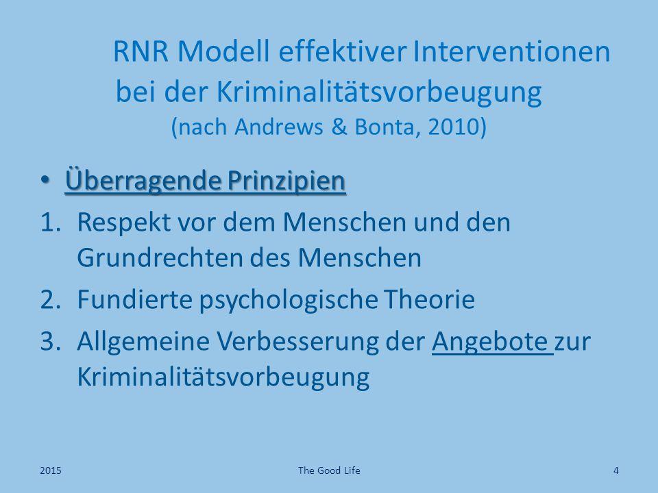 RNR Modell effektiver Interventionen bei der Kriminalitätsvorbeugung (nach Andrews & Bonta, 2010)