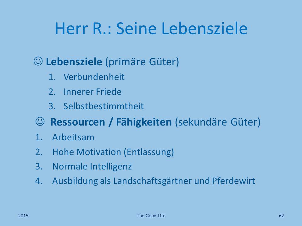 Herr R.: Seine Lebensziele