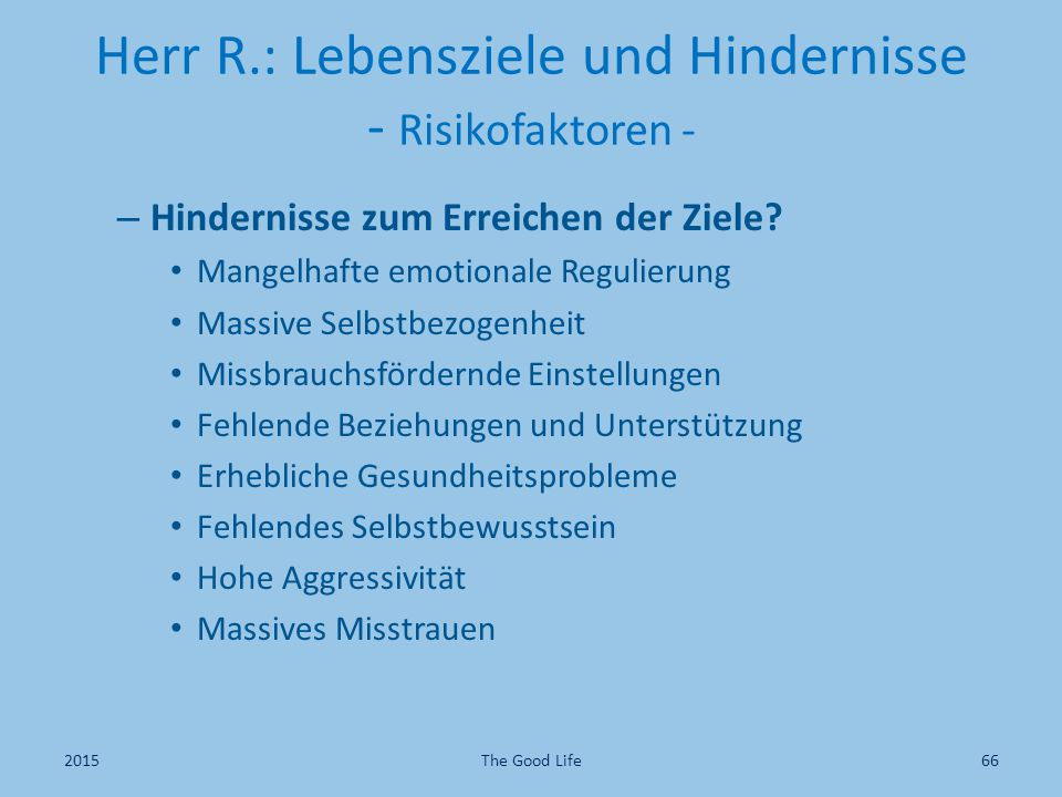 Herr R.: Lebensziele und Hindernisse - Risikofaktoren -