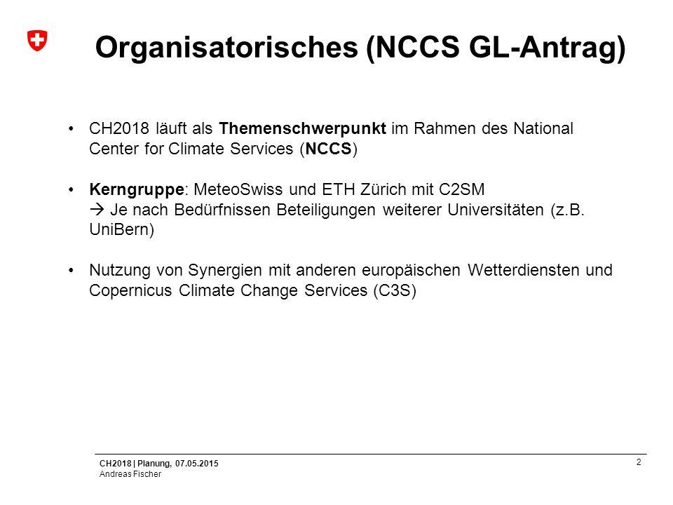 Organisatorisches (NCCS GL-Antrag)