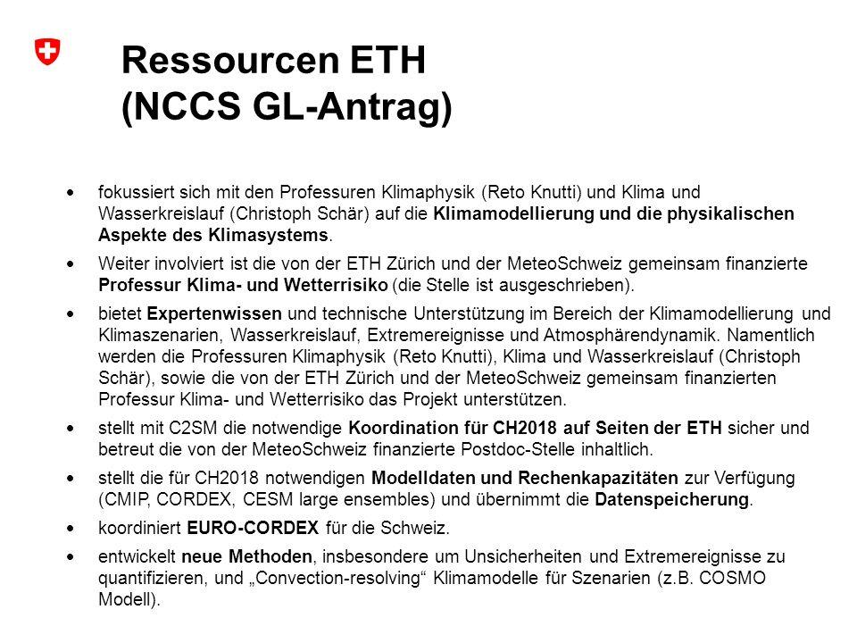 Ressourcen ETH (NCCS GL-Antrag)