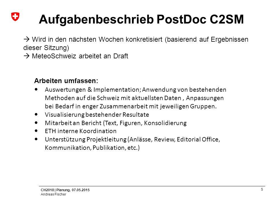 Aufgabenbeschrieb PostDoc C2SM