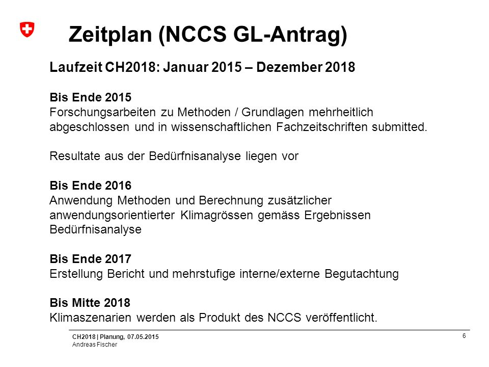 Zeitplan (NCCS GL-Antrag)