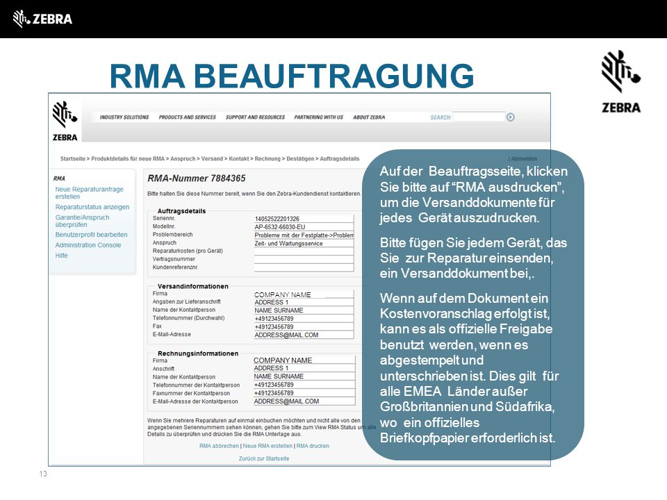RMA BEAUFTRAGUNG COMPANY NAME.