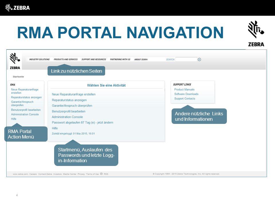 RMA PORTAL NAVIGATION Link zu nützlichen Seiten