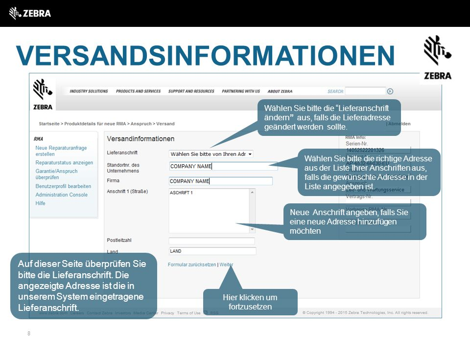 VERSANDSINFORMATIONEN