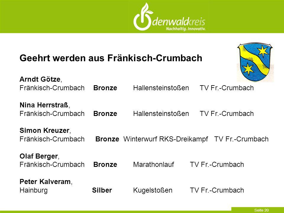 Geehrt werden aus Fränkisch-Crumbach